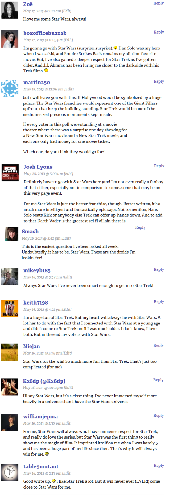 Star Wars winners comments